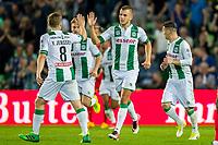GRONINGEN, 17-05-2017, FC Groningen - AZ,  Noordlease Stadion, FC Groningen speler Jesper Drost heeft de 1-2 gescoord, FC Groningen speler Ruben Jenssen (l).