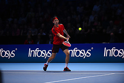 November 17, 2017 - London, England, United Kingdom - Austria's Dominic Thiem returns to Belgium's David Goffin during a men's singles round-robin match on day six of the ATP World Tour Finals tennis tournament at the O2 Arena in London on November 17, 2017. (Credit Image: © Alberto Pezzali/NurPhoto via ZUMA Press)