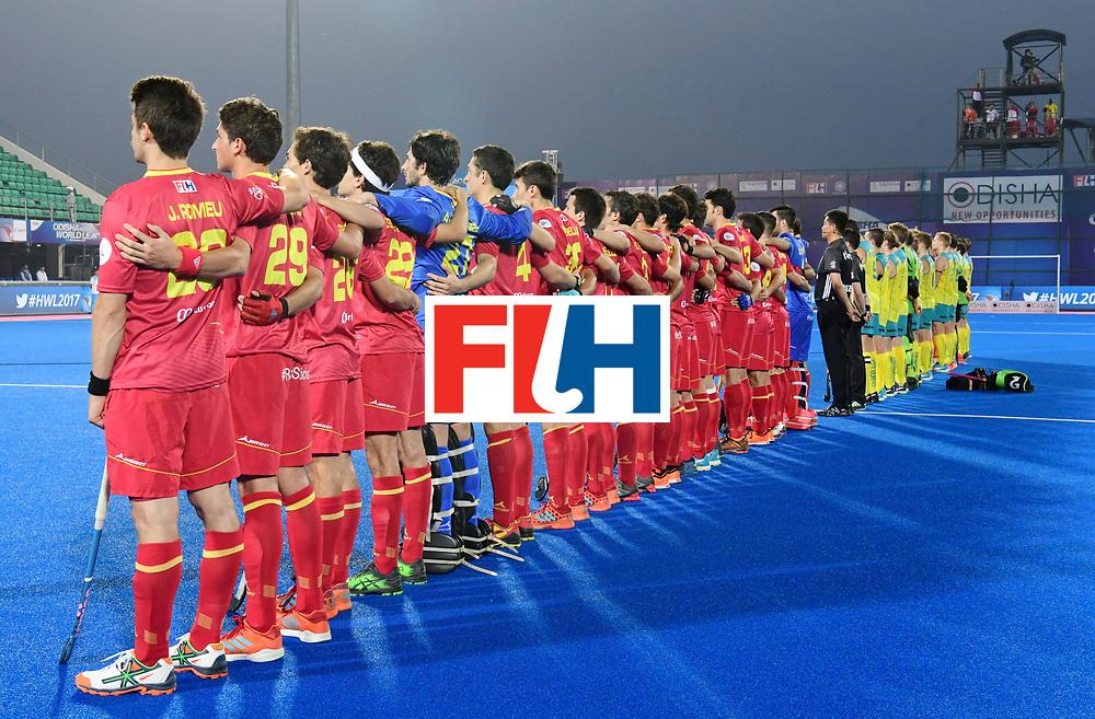 Odisha Men's Hockey World League Final Bhubaneswar 2017<br /> Match id:13<br /> Spain v Australia<br /> Foto: Line Up<br /> COPYRIGHT WORLDSPORTPICS FRANK UIJLENBROEK