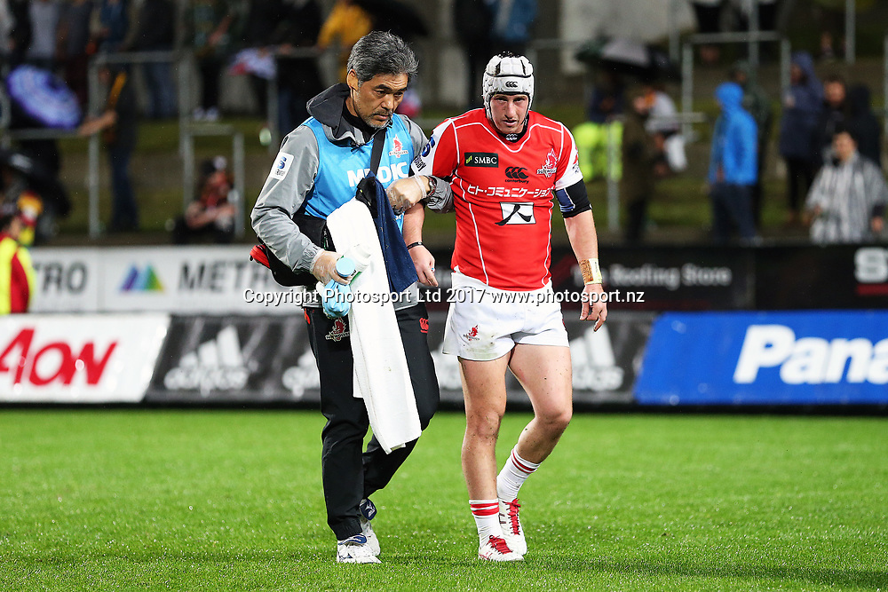 Sunwolves first five Hayden Cripps leaves the field with an injury during the Super Rugby rugby match - Chiefs v Sunwolves played at FMG Stadium Waikato, Hamilton, New Zealand on Saturday 29 April 2017.  Copyright photo: Bruce Lim / www.photosport.nz