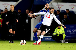 David Nugent of Derby County is fouled by Marcin Wasilewski of Leicester City - Mandatory by-line: Robbie Stephenson/JMP - 08/02/2017 - FOOTBALL - King Power Stadium - Leicester, England - Leicester City v Derby County - Emirates FA Cup fourth round replay