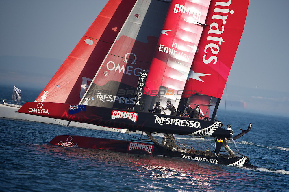 AC World Series,Cascais,Portugal,8/ 10/2011.Emirates team New Zealand beats oracle Racing 4 in the day match race.