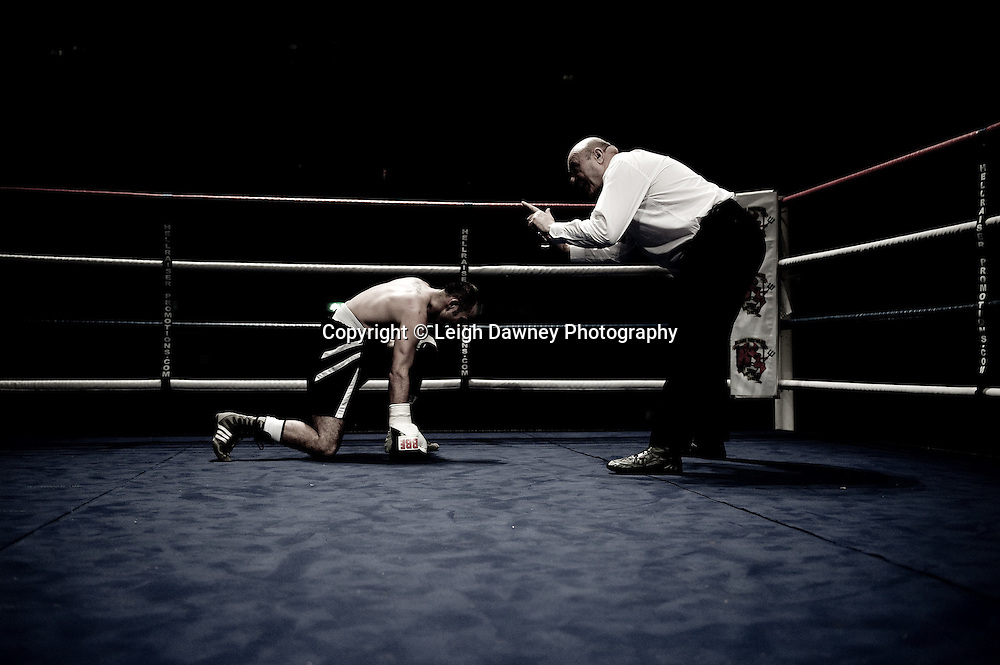 John Van Emmenis on a count by the ref after a blow by Michael Devine at Watford Colusseum 29 November 2009 Promoter Mickey Helliet, Hellraiser Promotions: Credit: ©Leigh Dawney Photography