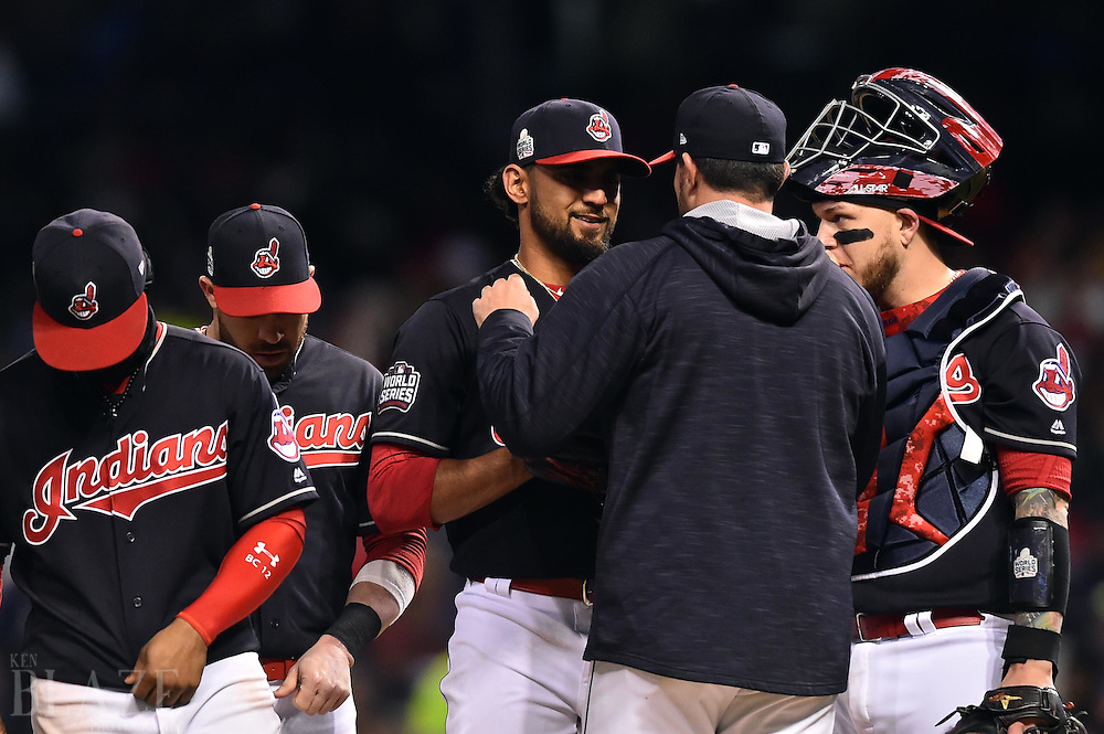 Oct 26, 2016; Cleveland, OH, USA; Cleveland Indians pitcher Danny Salazar (middle) meets with pitching coach Mickey Callaway in the 6th inning against the Chicago Cubs in game two of the 2016 World Series at Progressive Field. Mandatory Credit: Ken Blaze-USA TODAY Sports