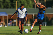 Forest Green Rovers Keanu Marsh-Brown(7) comes under pressure from Forest Green Rovers Reece Brown(10) during the Forest Green Rovers Training session at Browns Sport and Leisure Club, Vilamoura, Portugal on 23 July 2017. Photo by Shane Healey.
