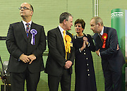 © Licensed to London News Pictures. 01/03/2013. Eastleigh, UK (left to right) DANNY STUPPLE - Independent, MIKE THORNTON - Liberal Democrats, DIANE JAMES - UK Independence Party, JOHN O'FARRELL - Labour. Ballot boxes begin to arrive at the count centre at  Fleming Park Leisure Centre in Eastleigh this evening. The voters of Eastleigh vote to choose a new MP in a by-election prompted by the resignation of former Lib Dem cabinet minister Chris Huhne. Polling will continued 22:00 GMT 28/02/13, with votes counted overnight on Thursday. There are 14 candidates in total on the ballot papers.. Photo credit : Stephen Simpson/LNP