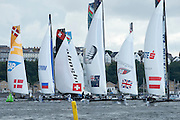 Practice racing on practice day for the Cardiff Extreme Sailing Series Regatta. 21/8/2014