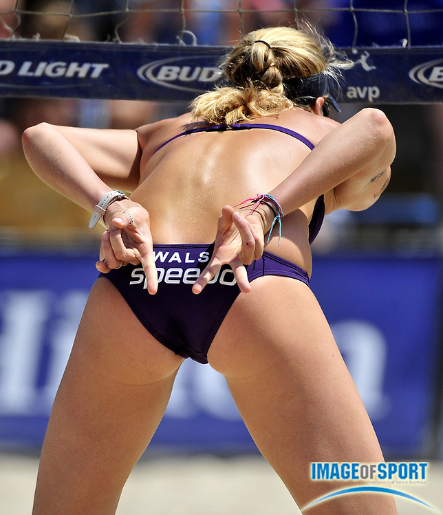 Jul 27, 2008; Long Beach, CA, USA; Kerri Walsh signals a play in the AVP Long Beach Open at Marina Green Park. Mandatory Credit: Kirby Lee/Image of Sport-US PRESSWIRE
