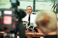 Stansted Airport press conference c/o  hijacked plane..Assistant Chief Constable for Essex Police, John Broughton, February 7, 2000. Photo by Andrew Parsons / i-images..