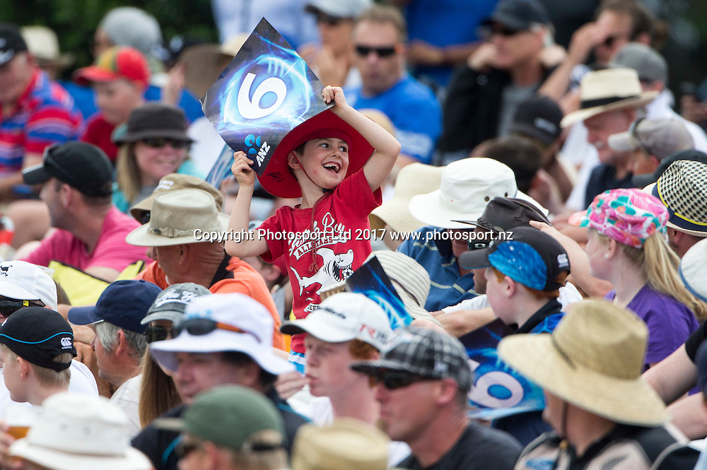 Fans celebrate a 6.  New Zealand Blackcaps v Bangladesh, International Cricket, 2nd T20, Bay Oval, Tauranga, New Zealand. Friday, 06 January, 2017. Copyright photo: John Cowpland / www.photosport.nz