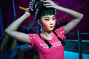 An actress from a Chiu Chow Opera touring company does her hair before a performance in the &ldquo;Hungry Ghost&rdquo; festival in Kowloon. Elaborate make-up and coiffure skills, along with dancing, singing, acting and even acrobatics are among the many demands made of Chinese Opera actors.<br /> <br /> [Here the actress is appearing in the &ldquo;Hungry Ghost&rdquo; festival. About 1.2 million people originating from Chiu Chow (Chaozhou) in China&rsquo;s Guangdong province live in Hong Kong. During the festival, they perform live Chinese operas and Chiu Chow&ndash;style dramas in order to entertain the spirits. Taken in Shek Kip Mei, Wai Chi Street Playground, Hong Kong]