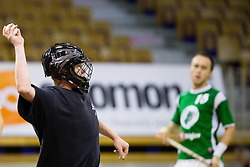 Goalie Tuomas Punta of Downtown Tigers during match for fifth place between Downtown Tigers (FIN) and FBK Olimpija (SLO)  in Floorball Slo Open 2012, on August 26, 2012 in Ljubljana, Slovenia.  (Photo by Matic Klansek Velej / Sportida.com)