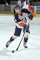 KELOWNA, CANADA, OCTOBER 29: JC Lipon #34 of the Kamloops Blazers takes a shot on net during warm-up as the Kamloops Blazers visit the Kelowna Rockets  on October 29, 2011 at Prospera Place in Kelowna, British Columbia, Canada (Photo by Marissa Baecker/Shoot the Breeze) *** Local Caption *** JC Lipon;