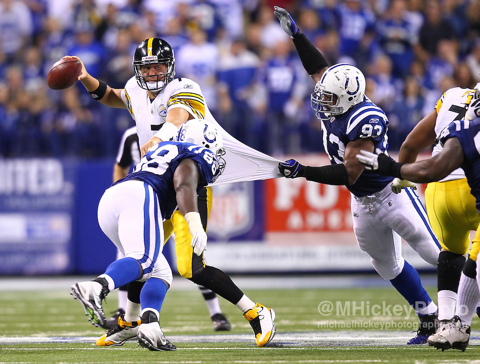 Sept. 25, 2011; Indianapolis, IN, USA;  Pittsburgh Steelers quarterback Ben Roethlisberger (7) is sacked by Indianapolis Colts defensive end Dwight Freeney (93) at Lucas Oil Stadium.  Mandatory credit: Michael Hickey-US PRESSWIRE