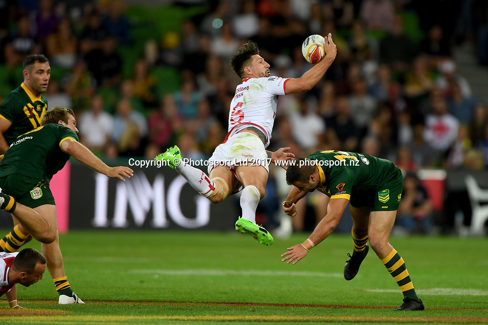 Gareth Widdop.<br /> RLWC 2017. Australia Kangaroos v England. Rugby League World Cup. Melbourne Rectangular Stadium, Melbourne Australia. Friday 27 October 2017. &copy; www.photosport.nz