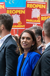 © Licensed to London News Pictures. 24/09/2019. London, UK. Gina Miller (centre) speaks outside the Supreme Court in London after judges ruled that Prime Minister Boris Johnson's suspension of Parliament was unlawful. Photo credit: Rob Pinney/LNP