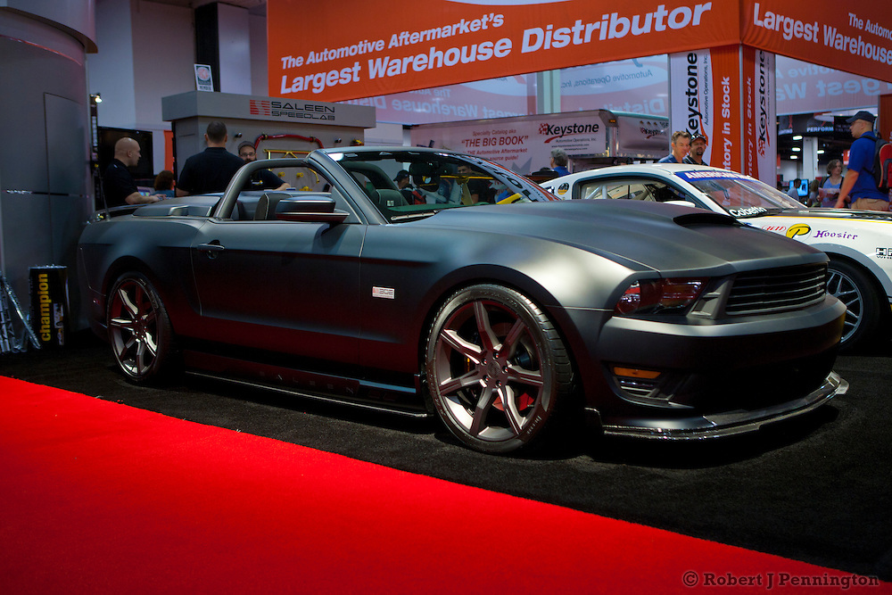 SEMA 2011 in Las Vegas Nevada, an automobile after market show. 2012 Saleen S302 in matte black.