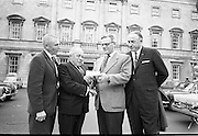 21/07/1967<br /> 07/21/1967<br /> 21 July 1967<br /> Presentation for Fr. O'Flynn Memorial Park. The Irish American Heritage Society of Boston, USA, presented 400 dollars to Mr. A.A. Healy T.D., Chairman of the &quot;Loft&quot; in Cork for the Fr O'Flynn Memorial Park at Passage West, Co. Cork at Leinster House, Dublin. Picture shows Mr. Harry Weldon, (2nd from right), (formerly Chief of the Vocational Schools in Cork and former member of the &quot;Loft&quot;) Founder-President of the Irish American Heritage Society of Boston presenting the cheque to Mr. A.A. (Gus) Healy T.D., with Mr. James McDonough, (left) and Mr. Joseph Patrick Murphy also of the Irish American Heritage Society.