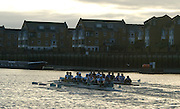 Putney, London.  Pre Varsity Boat race fixture. the crews start to move towards each other, shortly after the Start of the second Trial, Cambridge UBC.[Blue Boat]  vs GBR U23 crew raced over parts of the Championship Course, [Putney to Mortlake].  Race divided into two trials. 1. Start to Hammersmith Pier. 2. Chiswick Eyot to Finish. River Thames. Saturday   26/02/2011 [Mandatory Credit -Karon Phillips/Intersport Images]..Crews:.CAMBRIDGE [Blue Boat] Bow,  Mike THORP, Joel JENNINGS,  Dan RIX-STANDING,  Hardy CUBASCH,  George NASH,  Geoff ROTH , Derek RASMUSSEN, Stroke David NELSON and Cox Tom FIELDMAN..GB Under-23s Bow, Oliver STAITE, Jack CADMAN,  Alex TORBICA, Alex DAVIDSON, Matt TARRANT, Ertan HAZINE,  Mason DURANT,  Stroke Scott DURANT and Cox Max GANDER ...