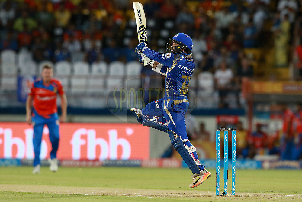 Parthiv Patel of MI plays a shot during match 35 of the Vivo 2017 Indian Premier League between the Gujarat Lions and the Mumbai Indians  held at the Saurashtra Cricket Association Stadium in Rajkot, India on the 29th April 2017<br /> <br /> Photo by Rahul Gulati - Sportzpics - IPL