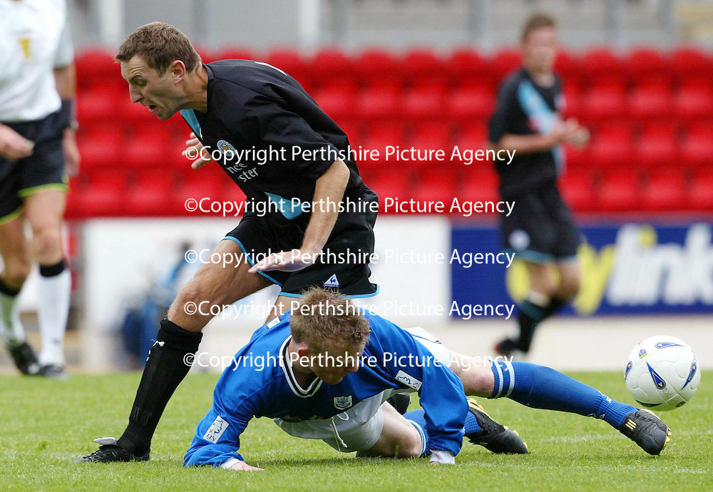 St Johnstone v Leicester City..24.07.04 (Friendly) <br />Mark Baxter tackles Jason Wilcox<br /><br />Picture by Graeme Hart.<br />Copyright Perthshire Picture Agency<br />Tel: 01738 623350  Mobile: 07990 594431