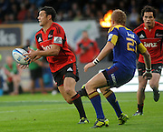 Crusaders, Dan Carter looks to pass, Investec Super Rugby - Highlanders v Crusaders, 19 March 2011, Carisbrook Stadium, Dunedin, New Zealand.Photo: New Zealand. Photo: Richard Hood/www.photosport.co.nz