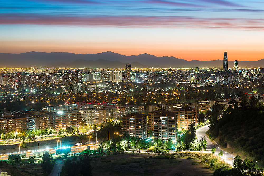 Panoramic view of Santiago de Chile with Las Condes and Vitacura districts and the wealthy neighborhood of Lo Curro <br /> <br /> For LICENSING and DOWNLOADING this image follow this link: http://www.masterfile.com/em/search/?keyword=600-07802569&amp;affiliate_id=01242CH84GH28J12OOY4<br /> <br /> For BUYING A PRINT of this image press the ADD TO CART button.<br /> <br /> Download of this image is not available at this site, please follow the link above.