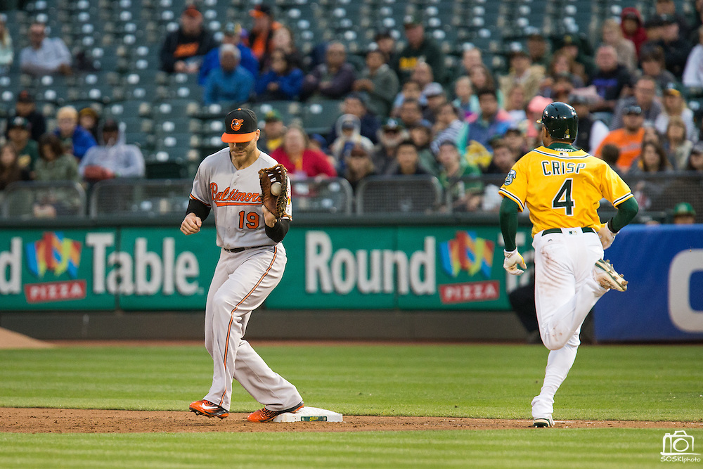 Oakland Athletics left fielder Coco Crisp (4) grounds out as Baltimore Orioles first baseman Chris Davis (19) makes the catch at first base at Oakland Coliseum in Oakland, Calif. on August 8, 2016. (Stan Olszewski/Special to S.F. Examiner)