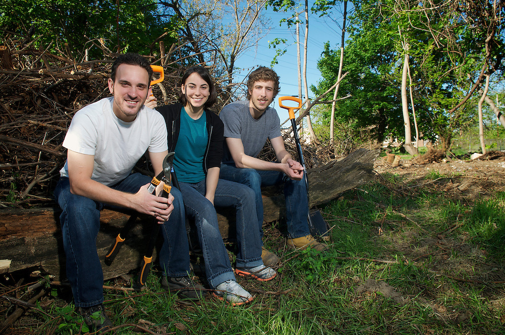 Baldwin-Wallace students Matthew Pietro, Sarah Sampsell and Todd Alexander at the soon to be Central Roots comunity garden located near Thackeray and E. 59th Street on Cleveland's near East side. The Students recieved a $20,000 grant from Neighorhood Progress Inc. to start the commertialy viable community garden project.
