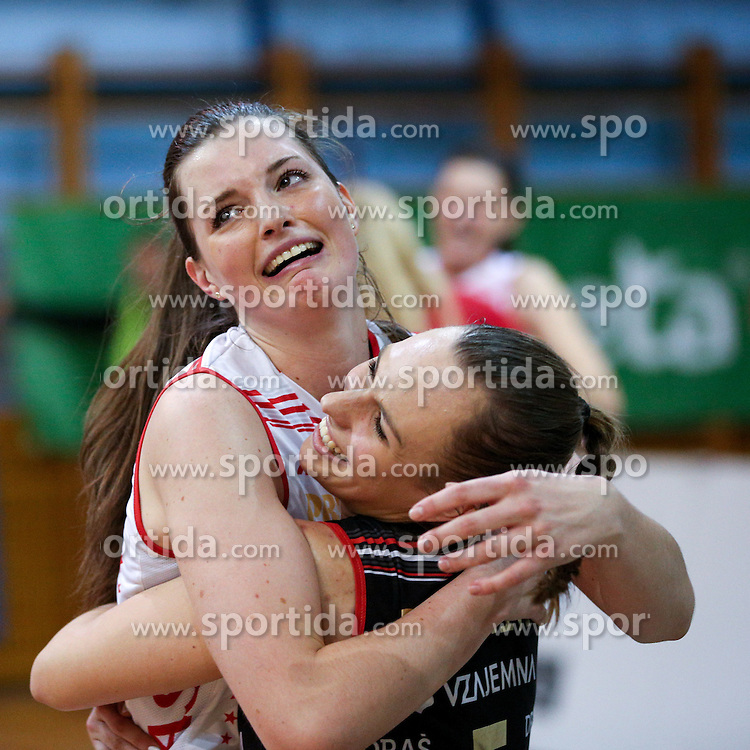 Iza Mlakar of NKBM Maribor and Karmina Suznik of NKBM Maribor celebrate during volleyball match between Calcit Ljubljana and Nova KB Maribor in Final of Slovenian Cup 2015/16, on January 9, 2016 in Kamnik, Slovenia. Photo by Vid Ponikvar / Sportida