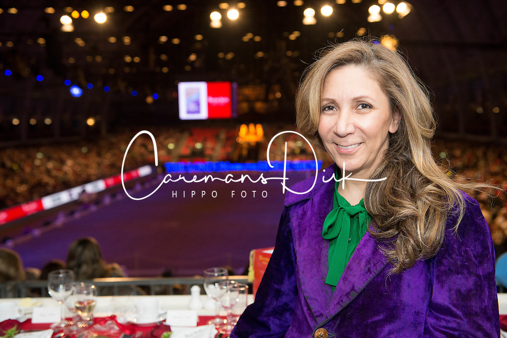 Fashion designer Reem Acra, title sponsor  of the<br /> Reem Acra FEI World Cup Dressage K&uuml;r<br /> London International Horse Show Olympia 2013<br /> &copy; Hippo Foto - Jon Stroud