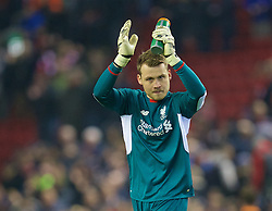 LIVERPOOL, ENGLAND - Wednesday, January 20, 2016: Liverpool's goalkeeper Simon Mignolet applauds the the supporter after the 3-0 victory over Exeter City during the FA Cup 3rd Round Replay match at Anfield. (Pic by David Rawcliffe/Propaganda)