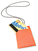 metro card holder by hermes in orange leather