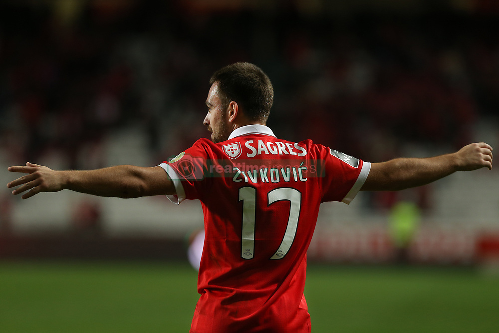 November 26, 2017 - Lisbon, Lisbon, Portugal - Benficas forward Andrija Zivkovic from Serbia celebrating after scoring a goal during the Premier League 2017/18 match between SL Benfica and FC Vitoria Setubal, at Luz Stadium in Lisbon on November 26, 2017. (Credit Image: © Dpi/NurPhoto via ZUMA Press)