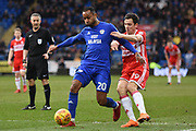 Middlesbrough midfielder Stewart Downing (19) battles with Cardiff City midfielder Loic Damour (20) 1-0 during the EFL Sky Bet Championship match between Cardiff City and Middlesbrough at the Cardiff City Stadium, Cardiff, Wales on 17 February 2018. Picture by Alan Franklin.