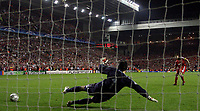 Photo: Paul Thomas.<br /> Liverpool v Chelsea. UEFA Champions League. Semi Final, 2nd Leg. 01/05/2007.<br /> <br /> Steven Gerrard scores his penalty past Petr Cech.