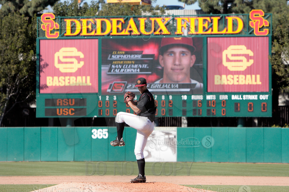 28 March 2009:  Pitcher #23 Jeff Grijalva of the USC Trojans Baseball team during a 10-1 loss to Arizona State Sun Devils at Dedeaux Field in Los Angeles.