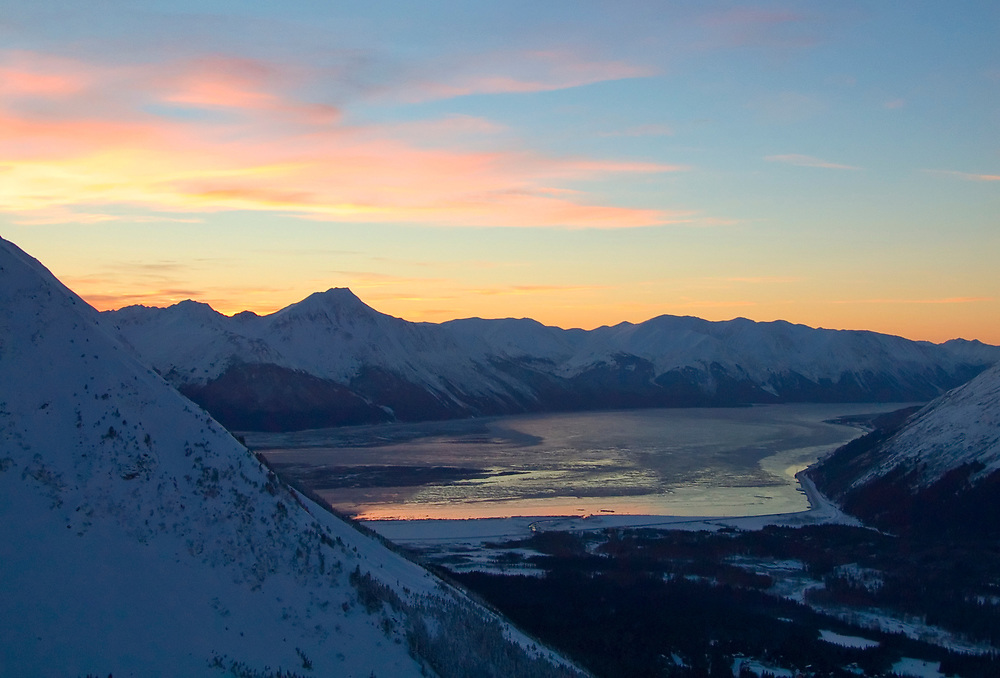 Girdwood, Alyeska Resort view of  Turnagain Arm and the Chugach Mountains in the evening