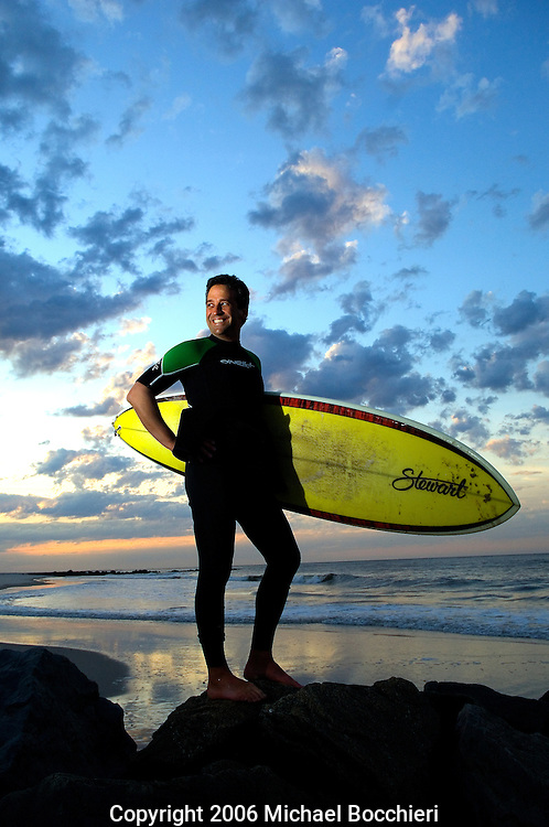 LONG BEACH, NY - April 28:  Dan Brennan a surfer from Ridgewood, NJ poses on April 28, 2006 in LONG BEACH, NY.  (Photo by Michael Bocchieri/Bocchieri Archive)