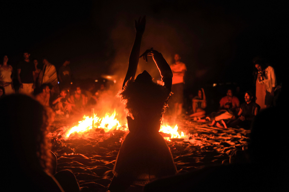 "The Burning of the temple at ""Mid Burn"", the Israeli ""Burning Man Festival"" held at ""Habonim"" beach north of Israel October 4-6, 2012."
