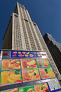 The Woolworth Building and a smoothie fruit drink kiosk on sale at 233 Broadway, New York City.