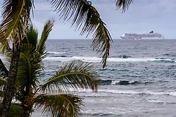 "The Norwegian Cruise Line ship ""Pride of America"" sails past Hanalei Bay off the shore of the island of Kauai in Hawaii. In the spring of 2013 the 921-foot ship underwent $30 million in renovations in the Pearl Harbor shipyard. According to Norwegian Cruise line the ship is adding 24 luxury suites, four studio staterooms and four inside staterooms, ship-wide wireless internet, a Brazilian-style steakhouse restaurant, new carpeting, flat screen televisions, fitness center improvements and other upgrades."