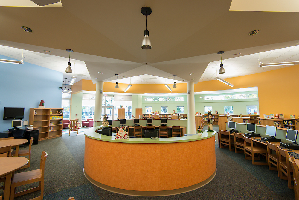 The library at Sherman Elementary School provides plenty of light.