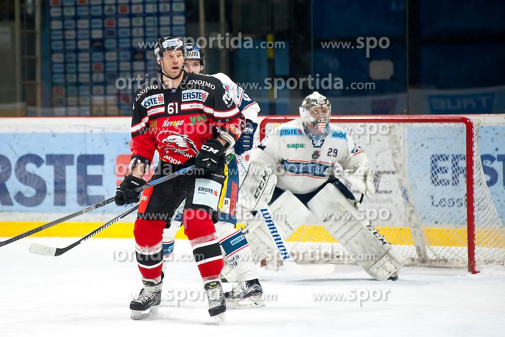 10.01.2016, Ice Rink, Znojmo, CZE, EBEL, HC Orli Znojmo vs Fehervar AV 19, 43. Runde, im Bild v.l. Andre Lakos (HC Orli Znojmo) Antonin Manavian (SAPA Fehervar AV19) Zoltan Hetenyi (SAPA Fehervar AV19) // during the Erste Bank Icehockey League 43th round match between HC Orli Znojmo and Fehervar AV 19 at the Ice Rink in Znojmo, Czech Republic on 2016/01/10. EXPA Pictures © 2016, PhotoCredit: EXPA/ Rostislav Pfeffer
