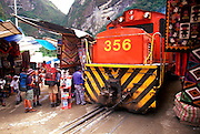 PERU, CUZCO - MACHU PICCHU TRAIN Aguas Calientes town below Machu Picchu