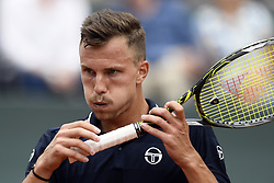 Geneva Switzerland May 26,2018.  Marton Fucsovics of Hungaria reacts during the men's final against Peter Gojowczyk of Germany at the Geneva Open ATP 250 Tennis tournament in Geneva, Switzerland, May 26, 2018. Fucsovics won the game 6.2 / 6.2  (Credit Image: © Alain Grosclaude/Xinhua via ZUMA Wire)