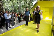 Giardini. Australian Pavillion grand opening. Biennale President Paolo Baratta (blue shirt).