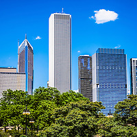 Picture of Chicago skyline and Grant Park trees in the downtown Chicago Loop including One Prudential Plaza, Two Prudential Plaza, Aqua skyscraper, and Blue Cross Blue Shield Tower. Photo is high resolution and was taken in 2012.