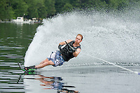 Mike Morin or Morin Training Systems slalom skiing on Lake Winnipesaukee.  © 2013 Karen Bobotas.  All Rights Reserved.