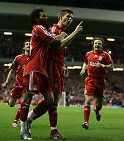 Photo: Paul Thomas.<br /> Liverpool v Middlesbrough. The Barclays Premiership. 18/04/2007.<br /> <br /> Steven Gerrard celebrates his goal with team-mates.